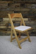 Rental store for CHAIR, NATURAL WOOD W  PADDED SEAT in Raleigh NC