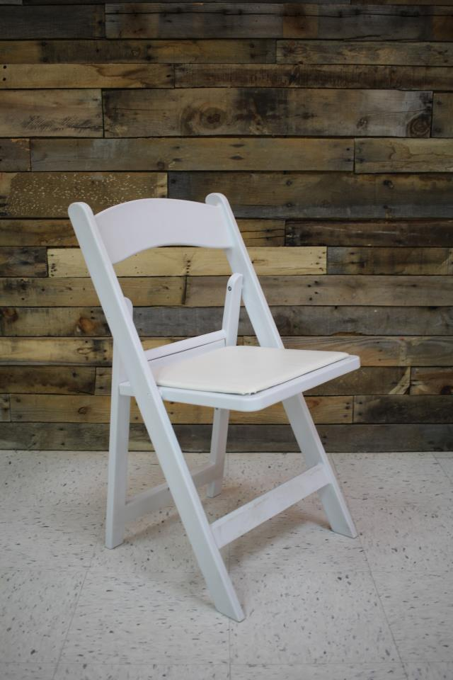 Where to find CHAIR, WHITE WITH PADDED SEAT in Cary